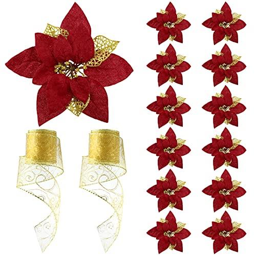 12 Flores de Nochebuena Artificiales de Navidad Flor de Pascua Artificial con Brillo Navideña Flor de Navidad con Purpurina Falsa con 12 Pinzas y 2 Rollos de Cinta de Organza para Navidad