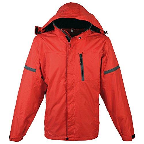 Schwarzwolf outdoor Veste coupe-vent pour homme - Tissu imperméable - Colonne d'eau : 30 000 mm - Respirabilité : 6 500 mvp - Capuche amovible - Bonete Men (M - rouge)