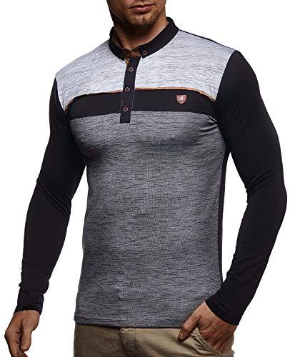 Leif Nelson Herren Polo-Shirt Langarmshirt Slim Fit Baumwolle-Anteil Basic Männer Longsleeve Pulli weißes Sweatshirt Poloshirt Pullover T-Shirt Langarm LN4805 Schwarz Small