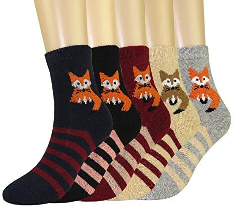 FULIER Frauen Casual Dicke Warme Winter Wolle Crew Thermische Socken 5 Pack UK 4-7 (Fuchs)