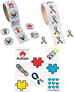 Charmed By Dragons Autism Awareness Stickers and Tattoos Bundle: 200 Stickers and 72 Tattoos ( 272 Piece Bundle)