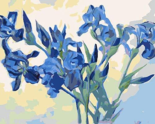 BUFUXINGMA Verf op nummers voor volwassenen, DIY Canvas olieverfschilderij Kit voor Kid Beginners met Penselen Acryl Pigment Tekening Paintwork, Blue Iris 16X20Inch ingelijst