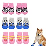 None/Brand Dzmuero Calcetines para Perros,3Juegos Calcetines para Mascotas Calcetines para Perros y Gatos de Punto Antideslizantes adecuados adecuados para Perros y Gatos pequeños y medianos