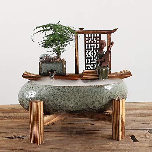 LINDU Bloem-pot keramische stroom apparaat voor hydrocultuur circuleren pompen water om vis te verhogen en bevochtigen huishoudelijke decoratieve houten decoratie handwerk