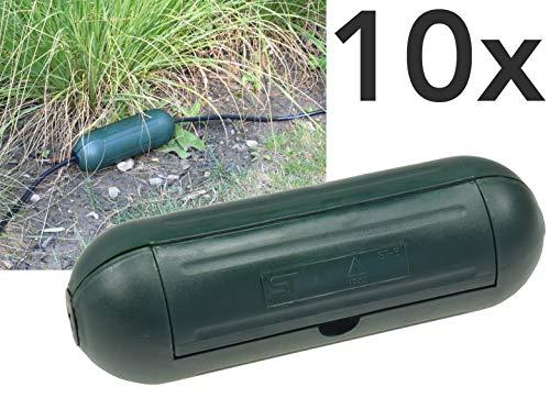 Outdoor Sicherheitsbox IP44 Schutzbox 10Stück Grün Safe-Box für Kabelverbindung Spritzwasserschutz Schutzkaspel für Verlängerungskabel und Stromstecker im Aussenbereich