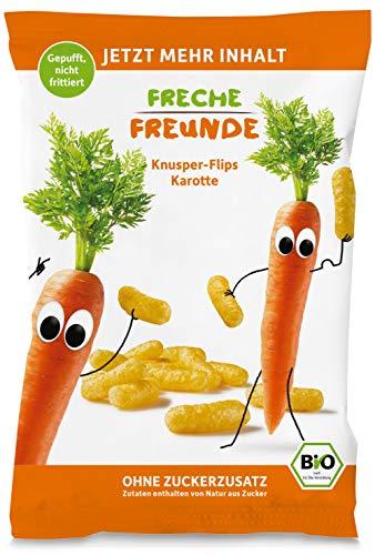 Neu Freche Freunde Bio Knusper-Flips Mais & Karotte, ohne Zuckerzusatz, Bio Knabberzeug für Kinder und Babys ab 1 Jahr, (9x30g) 270g