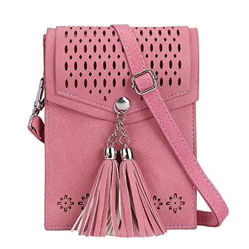 Preisvergleich Produktbild SeOSTO Frauen Mini Umhängetasche,  Quaste Umhängetasche Handy Geldbörse Wallet (Dunkelpink)