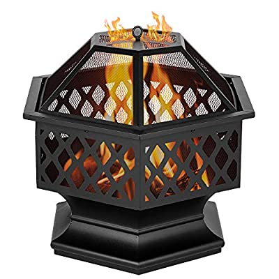 JIESD-Z 24 Metal Fire Pit Outdoor Wood Burning Steel Firepit Bowl with Mesh, Hexagonal Firepit Table Backyard Patio Garden Stove Wood Burning Fireplace w/Spark Screen Cover, Poker, Cover from JIESD-Z