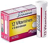 JUVAMINE - 12 Vitamines & 9 Minéraux - Aide à réduire la fatigue - 30 Comprimés Effervescents