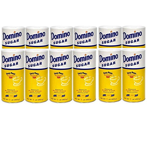 Domino Sugar Granulated Sugar Canister, 16 Ounces (Pack of 12)