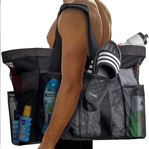 Malla grande Bolsa de playa, piscina bolsas de mano, bolso del gimnasio con 8 bolsillos, de servicio pesado, ligero y plegable, ideal for el coche, picnic, barbacoas, camping, playa, viajes