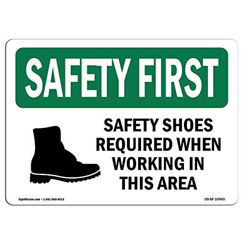 Diuangfoong OSHA Sicherheitsschuhe erforderlich bei der Arbeit mit Symbol, Aluminiumblech, 30,5 x 45,7 cm