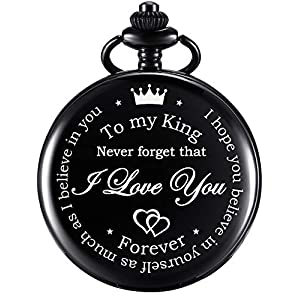 Anniversary Valentines Personalized Gift Engraved Pocket Watch with Chain for Men Husband Boyfriend on Valentines, Christmas, Birthday, Happy Wedding