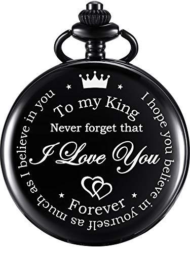 Jahrestag Geschenke Valentinstag Personalisierte Geschenk Gravierte Taschenuhr mit Kette für Männer Ehemann Freund am Valentinstag, Weihnachten, Geburtstag, Glückliche Hochzeit