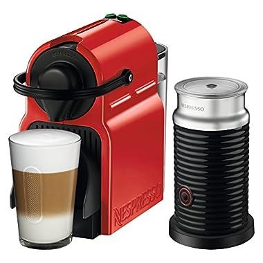 Nespresso Inissia Original Espresso Machine with Aeroccino Milk Frother Bundle by Breville, Red