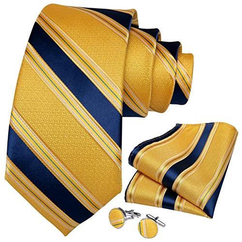 WOXHY Cravate Homme Or Bleu Rayé Conception Soie Mariage Handy Bouton De Manchette Cadeau Cravate Set Party Business