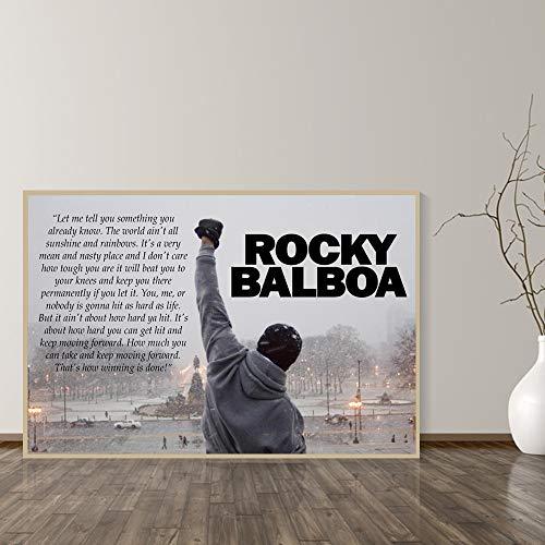 Rocky Balboa Boksen Bodybuilding Print Posters Motieven Zwart-wit Wall Art Canvas Schilderij Slaapkamer Decoratie Foto A 75x100cm Geen lijst