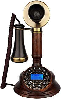 YuanElectronic Telephone European-Style Antique Home Landline Classical Oak Solid Wood Living Room Bedroom Office Fixed Telephone with Pattern Hands-Free Version