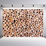 5x5ft Rustic Vinyl Photography Backdrop,Wooden Lumber Tree Logs Backdrop Backgroundfor Newborn Kids Baby Shower Children Birthday Party Cake Smash Decors (Backdrop Only)
