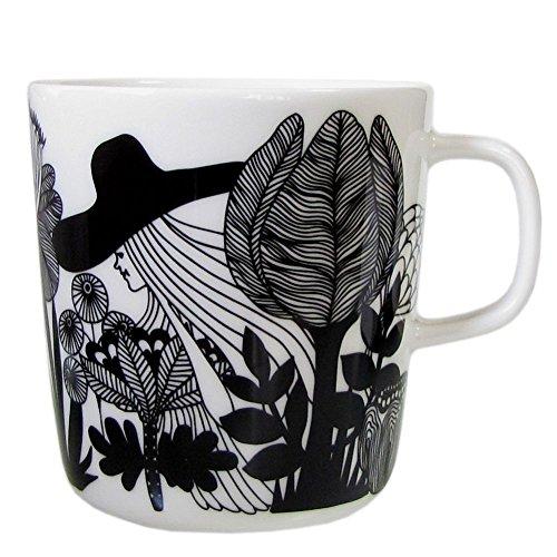 Marimekko - Siirtolapuutarha - Oiva - Becher / Henkelbecher / Kaffeetasse - 0,4 l - weiß / schwarz / orange
