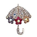 U-K Broche Cofre Paraguas Señoras Diamantes de imitación Broche Elegante Broche Diseño de Joyas Creativo y útilTratamiento practico