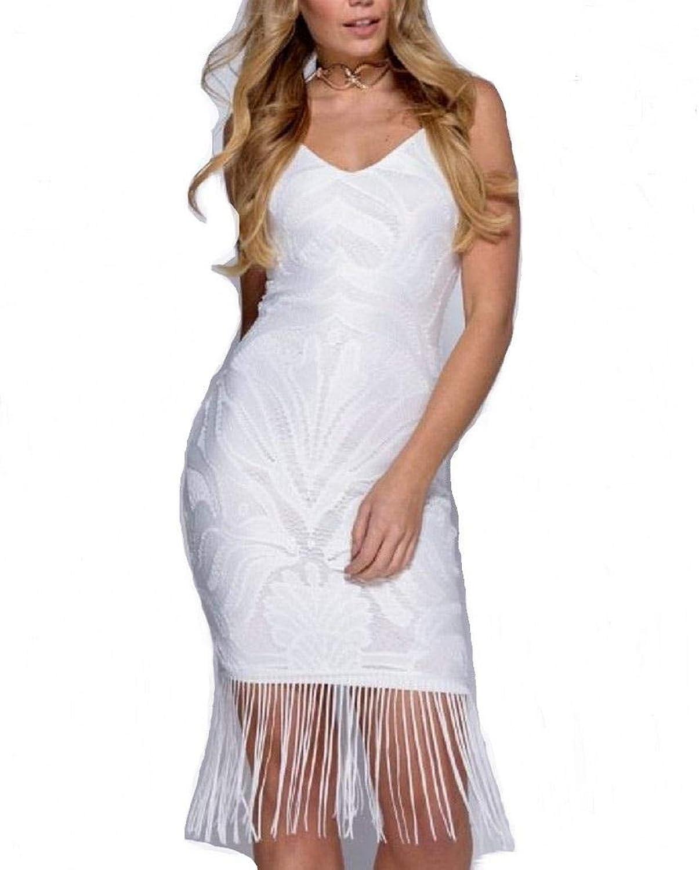 Parisian by Vogue Style 95 Embroidered Dress, V Neck Tassel Fringe Hem Dress White