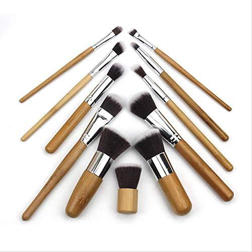 Trousse De Maquillage Sac À Linge En Lin De Qualité 11 Pièces De Pinceau De Beauté Manche En Bambou S-258