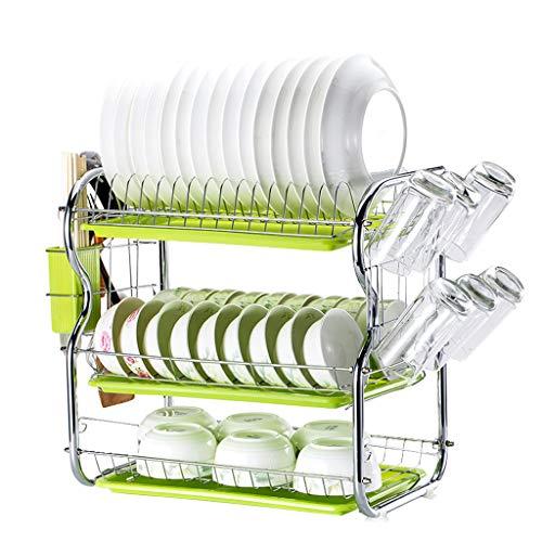 3-Tier Cocina De Acero Inoxidable Soportes para Platos Dish Drainer Dish Rack Holder Organización Estante con Bandeja de Goteo, Para Utensilios, B