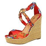 TOPEREUR Sandali da donna con tacco a zeppa, sandali da donna con stampa floreale, scarpe estive per le vacanze, spiaggia, comodi sandali da spiaggia, Rosso (Colore: rosso), 36 EU