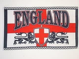 AZ FLAG England 2 Lions Sleeved Flag 3' x 5' - English Lions Flags 90 x 150 cm - Banner 3x5 ft