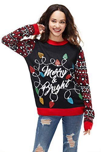 Unisex Women's Christmas Sweater Ugly Lights Pullover Merry and Bright Funny Knitted Reindeer Santa, X-Large
