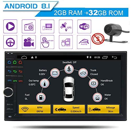 Cam¨¦ra de sauvegarde gratuit + Octa-core Car Stereo GPS Dash 7 pouces Double din pleine tablette Pannel Unit¨¦ t¨ºte multi-¨¦cran tactile Android 8.1 support Oreo GPS Bluetooth Sat Autoradio Navi Wi