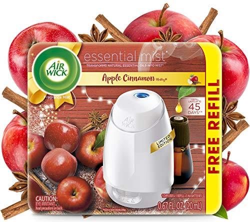Air Wick Essential Mist, Essential Oils Diffuser, (Diffuser + 1 Refill), Apple Cinnamon, Fall Scent, Fall Spray, Air Freshener