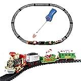 FXQIN Christmas Train Set Telecomando Set di Treni Ferroviari Elettrici di Natale Trenino Natalizio sotto Albero Decorazioni Natalizie, Funzionamento a Batteria, Suono Realistico e Luce