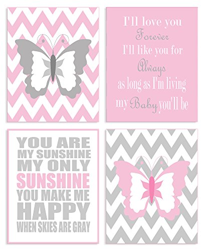 The Kids Room by Stupell Pink and Grey Chevron Butterfly Typography 4-Pc Rectangle Wall Plaque Set