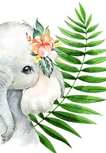 Pintar Por Numeros Adultos, 40X50Cm-Sin Marco, Para Adultos Y Principiantes Pintura Acrílica Diy Kit, Adecuados Regalos Navideños -Elefante Con Hoja