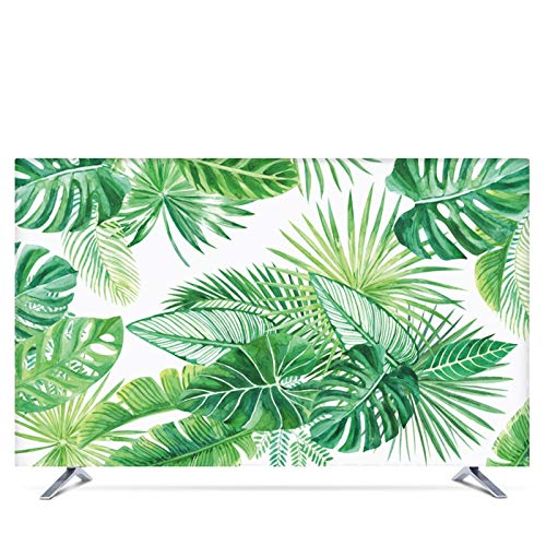 WENYOG Funda TV Exterior Custom 19' - 80' 22 Pulgadas 75 Pulgadas Decorativo Cubierta de la Capilla for la Pantalla de TV PC Hojas de Palma Verde Impermeable del Flamenco