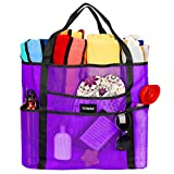 Mesh Beach Bag Tote Bag Grocery Storage Bag Oversized Big XL with Pockets Big Large Foldable Lightweight for Family Pool Purple Color