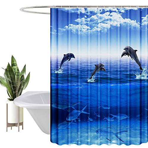 HEYOMART Duschvorhang, Wasserabweisend, Waschbar Digitaldruck Stoff Polyester Badewanne Vorhang, für Duschkabine, Badewannen, Badezimmer-Gardinen mit 12 Duschvorhängeringen (180x200cm, Ozean)