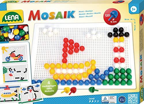 Lena 35609 x Mosaik Steckspiel Set mit 120 farbigen Mosaikstecker groß, je 15 mm und Stiftplatte 28 x 19,5 cm, Steckmosaik für Kinder ab 3 Jahre, mit Steckvorlagen Tiere, Blumen und Fahrzeuge, Bunt
