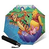 Compact Auto Open/Close Trifold Travel Anti-Uv Umbrella, Windproof Folding Lightweight Reverse Portable Outdoor Parasol Umbrella Rain&Sun, Disney Winnie Pooh Umbrella River