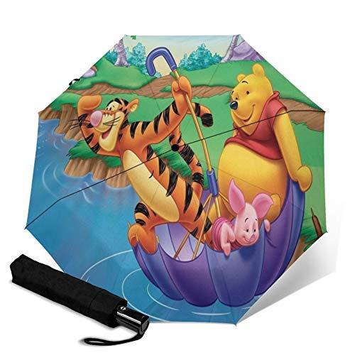 Paraguas Anti-Ultravioleta Compacto De Viaje Triple De Apertura/Cierre Automático, Sombrilla Plegable A Prueba De Viento para Exteriores, Disney Winnie Pooh Paraguas Río