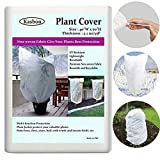 "Kasbon 2 Pack Plant Covers Freeze Protection & Plant Frost Blanket - 2.1 oz/yd² 40""x 70"" for Frost Protection, Reusable Shrub Jacket with Drawstring (2 Pack)"
