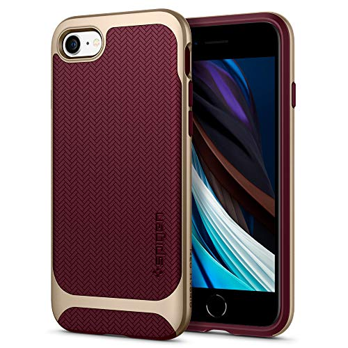Spigen Cover Neo Hybrid Herringbone Compatibile con iPhone SE 2020 Compatibile con iPhone 8 Compatibile con iPhone 7 - Burgundy