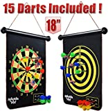 "M-Aimee Magnetic Dart Board for Kids - 18"" Double-Sided Roll-up with 15pcs Darts"