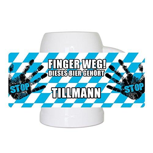 Lustiger Bierkrug mit Namen Tillmann und schönem Motiv Finger weg! Dieses Bier gehört Tillmann | Bier-Humpen | Bier-Seidel