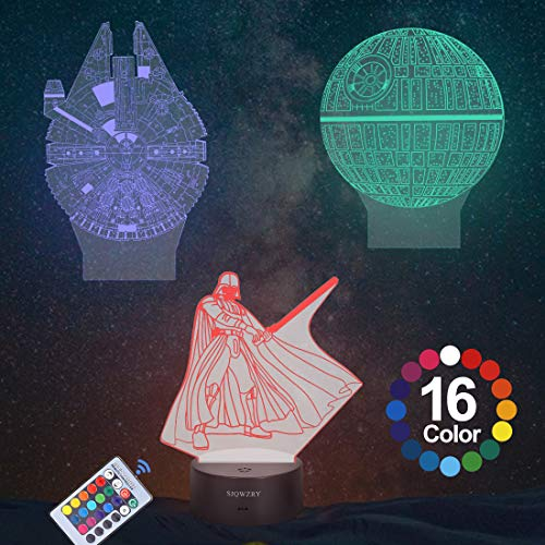 16-Colors and 3-Pattern with Remote Control 3D Star Wars Night Light Star Wars 3D Lamp Birthday Gifts for Star Wars Fans