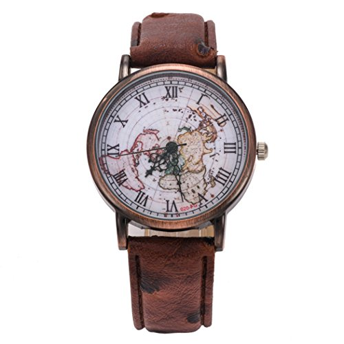 Watch Mens Womens Classic Map Retro Leather Pattern PU Roman Numeral Wrist Watch