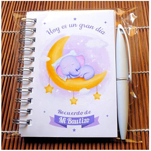 Recuerdos, Detalles y Regalos Originales Para Invitados Bautizo - Baby Shower - Libretas Bautizos con Mini Bolígrafo - Pack 15 Unidades - ¡Todo un Acierto! Gustará a Todos