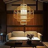 SHUANF Lámpara Colgante Retro Tejida de bambú Creatividad de Varias Capas Accesorio E27 Ajustable en Altura Pantalla Hecha a Mano Lámpara de araña de Dormitorio de Sala de Estar de ratán Natural